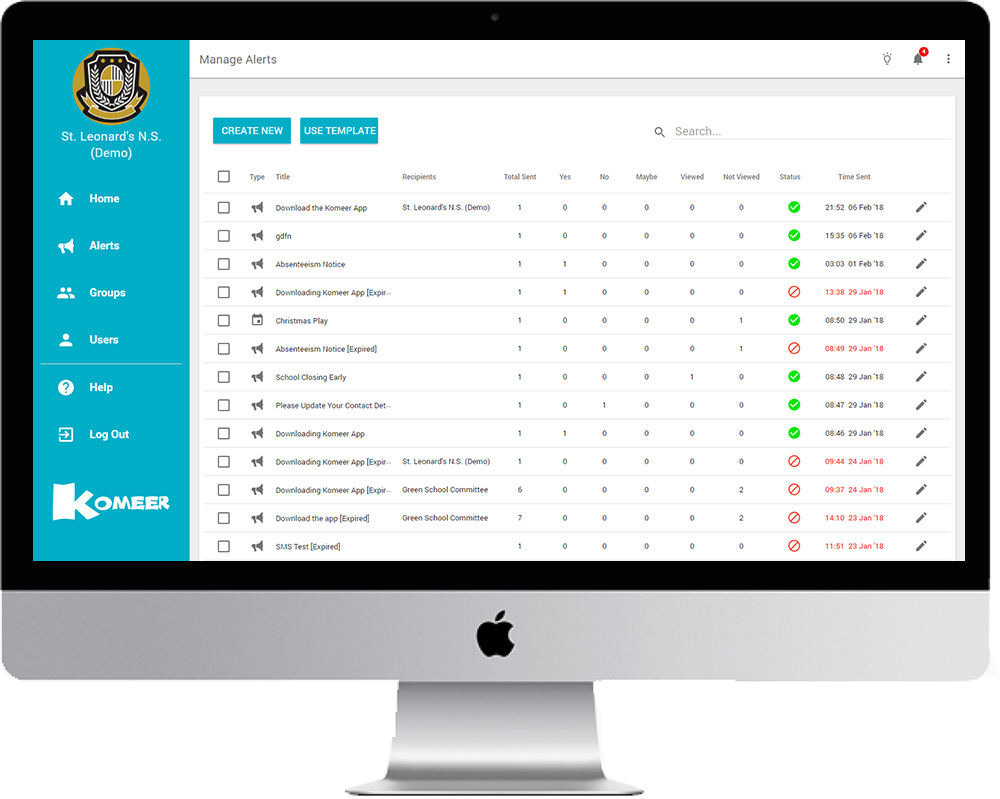 Komeer Features - Manage Alerts