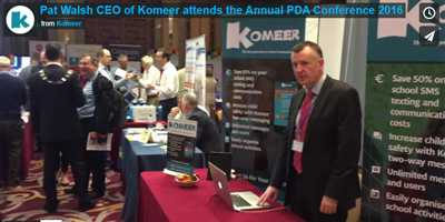Komeer at the PDA (Principals and Deputy Principals Association) Conference, Ballinasloe, Co. Galway.