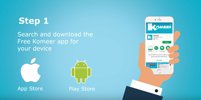 How to install the Free Komeer Mobile App and get started….
